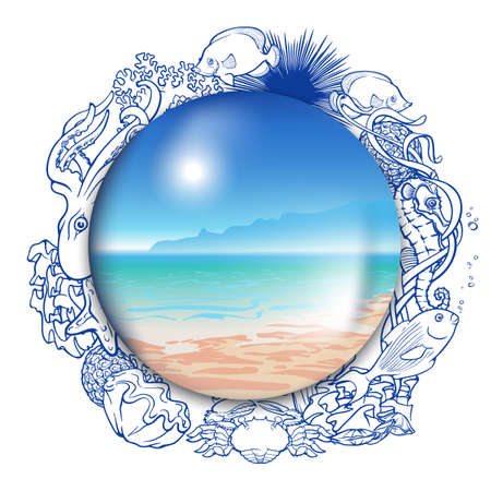 tropical beach panoramic: Summer Memories. Ideal seaside panorama enclosed into a glass globe framed with outlines of coral reef inhabitants.  vector illustration.