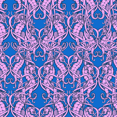 Seahorses hiding among chaotically interlaced seaweeds. Seamless pattern.  vector illustration.