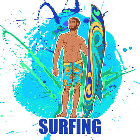 Athletic shaped trendy surfer with surfboard. Front view. Grunge background with paint spots and splashes. vector illustration.