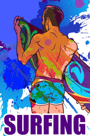 inversion: Athletic trendy surfer with surfboard. Back view. Grunge background with paint spots and splashes. Color inversion.  vector illustration.
