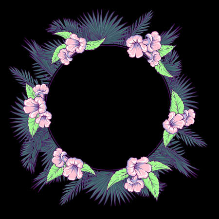 palm wreath: Tropical thicket. Palm tree leaves and  trumpetbush flowers wreath. Trendy  black background summer design template. Decorative symmetrical circular frame.  vector illustration. Illustration