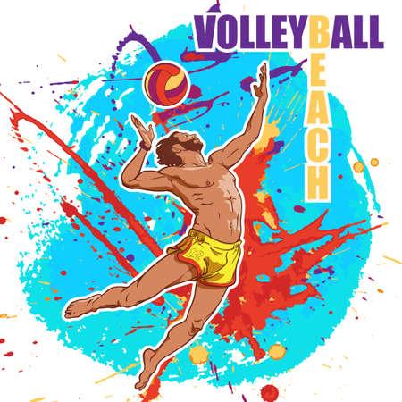 Junge athletische Mann mit einem Kopfball in Beach-Volleyball zu dienen. Dynamische Pose. Grunge farbigen Hintergrund. Vektor-Illustration.
