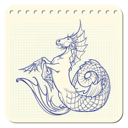 Hippocampus greek mythological creature. Kelpie scottish fairy tale water horse. Notepad hand drawing. EPS10 vector illustration.