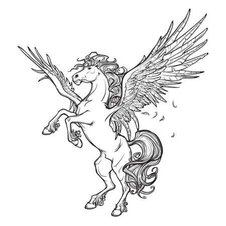 beast creature: Pegasus greek mythological creature. Legendary beast concept drawing. Heraldry figure. Vintage tattoo design. Sketch isolated on a white background. EPS10 vector illustration.