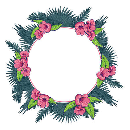 palm wreath: Tropical thicket. Palm tree leaves and  trumpetbush flowers wreath. Trendy white background summer design template. Decorative symmetrical circular frame. EPS10 vector illustration. Illustration