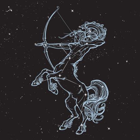 centaur: Rearing Centaur holding bow and arrow. Boho style look. Black nightsky background with stars. Zodiac sign. Astrology design. EPS10 vector illustration