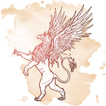 mythology: Griffin, griffon, or gryphon legendary creature from Greek mythology. Sketch on a grunge beckground. Vintage design. EPS10 vector illustration. Illustration