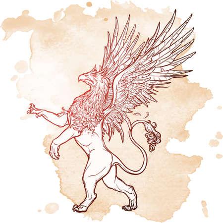 Griffin, griffon, or gryphon legendary creature from Greek mythology. Sketch on a grunge beckground. Vintage design. EPS10 vector illustration. Illustration