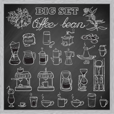 Barista tools set. Equipment for various ways of coffee brewing. Infographics icons. Doodle style pictures. Textured grunge spot beckground. EPS10 vector illustration. Vettoriali