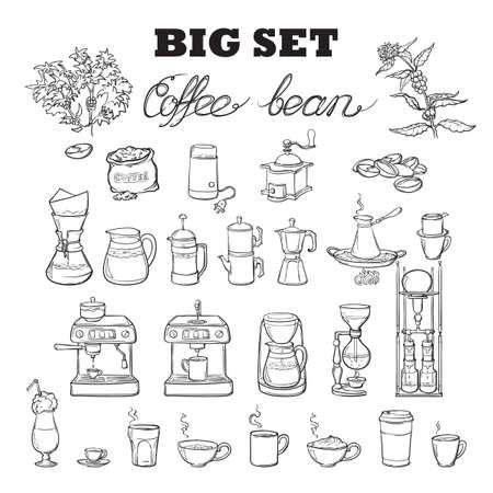 바리 스타 도구를 설정합니다. 커피 양조의 여러 가지 장비. 인포 그래픽 아이콘. 낙서 스타일의 그림. 블랙 스케치 흰색 배경에 고립입니다. EPS10 벡터