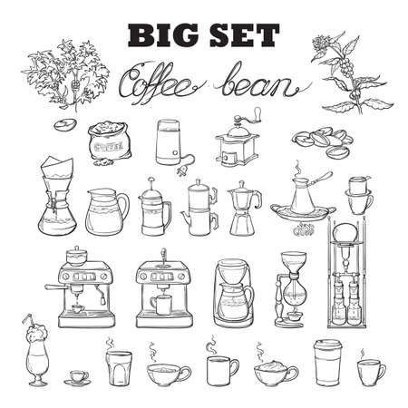 Barista tools set. Equipment for various ways of coffee brewing. Infographics icons. Doodle style pictures. Black sketch isolated on white background. EPS10 vector illustration. Vettoriali