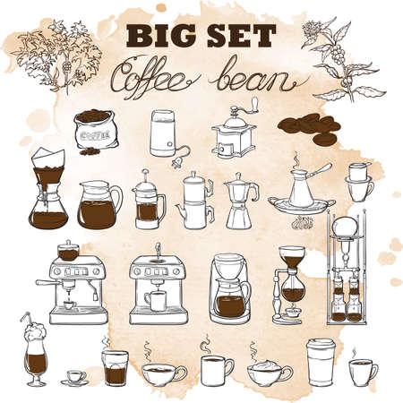 Barista tools set. Apparatuur voor verschillende manieren van koffie brouwen. Infographics pictogrammen. Doodle stijl foto's. Geweven grunge spot beckground. EPS10 vector illustratie.