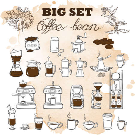 Barista tools set. Equipment for various ways of coffee brewing. Infographics icons. Doodle style pictures. Textured grunge spot beckground. EPS10 vector illustration.