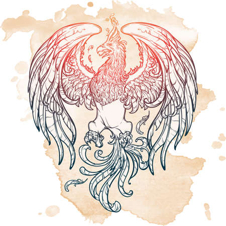 supporter: Phoenix or Phenix magic creature from ancient greek myths. Heraldic supporter. Sketch on grunge background. EPS10 vector illustration.