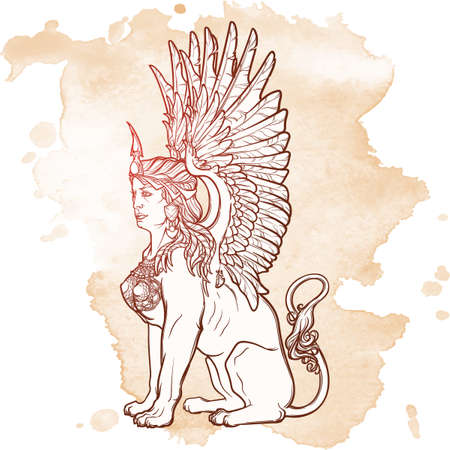 antiquities: Sitting Sphinx. Ancient Greek mythical creature with beautiful woman torso lion body and eagle wings. Heraldic supporter. Sketch on grunge background. EPS10 vector illustration.