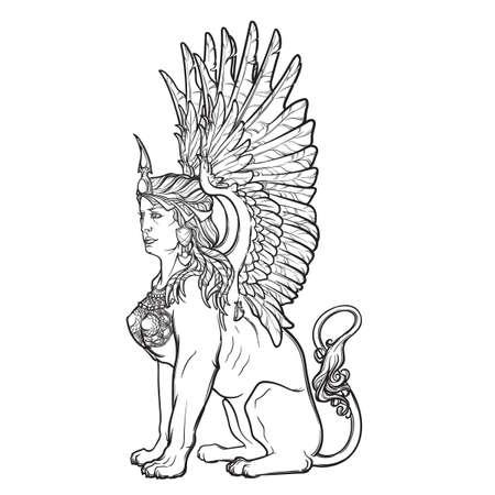 Zitten Sphinx. Oude Griekse mythische wezen met mooie vrouw torso leeuw lichaam en adelaarsvleugels. Heraldische supporter. Schets op een witte achtergrond. EPS10 vector illustratie.
