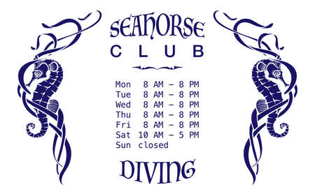 among: A diving club signboard template. Dark blue silhouettes of seahorses among seaweed cut through with outlines. Isolated on white background. EPS10 vector illustration. Illustration