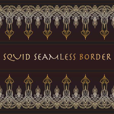 elaborate: Sea squid decorative seamless border. Exquisite and elaborate art nouveau style design. Trendy gold and dark brown palette. EPS10 vector illustratopn. Illustration
