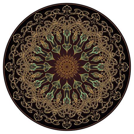 elaborate: Sea squid decorative circular ornament or mandala. Exquisite and elaborate art nouveau style design. Trendy gold and dark brown palette. EPS10 vector illustratopn. Illustration