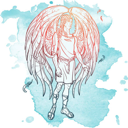 supernatural: Angel or Archangel. Byblical supernatural creature messenger of God. Sketch drawing isolated on grunge watercolor background. EPS10 vector illustration.