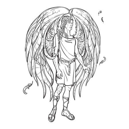 supernatural: Angel or Archangel. Byblical supernatural creature messenger of God. Sketch drawing isolated on white background. EPS10 vector illustration.