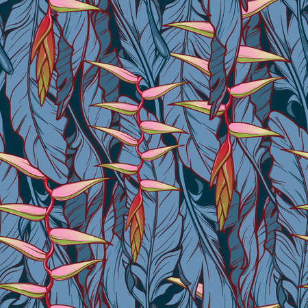 Heliconia chartacea flowers on Banana plant leavs on a dark blue background. Tropical jungle. Seamless pattern with Irregular distribution of elements. Vertical rythm. EPS10 vector illustration.