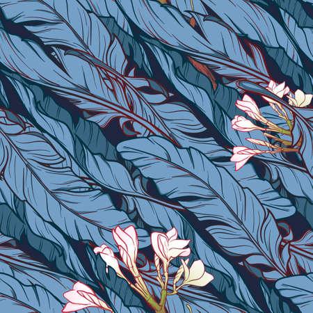 frangipani flower: White banana plant leavs and frangipani flower on a dark blue background. Tropical jungle. Seamless pattern with Irregular distribution of elements. Diagonal rythm. EPS10 vector illustration. Illustration