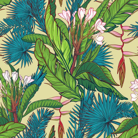 Tropical jungle. Palm tree and banana leaves, frangipani and heliconia flowers. Seamless pattern with Irregular distribution of elements. EPS10 vector illustration.