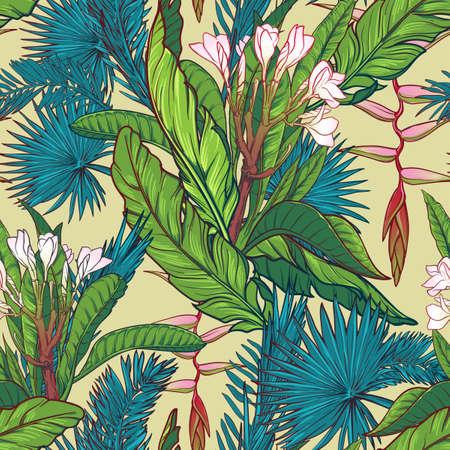 Tropische jungle. Palm en bananenbladeren, frangipani en heliconiabloemen. Naadloos patroon met onregelmatige verdeling van de elementen. EPS10 vector illustratie.