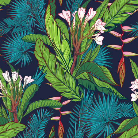 Tropical jungle. Palm tree and banana leaves, frangipani and heliconia flowers on a dark blue background. Seamless pattern with Irregular distribution of elements. EPS10 vector illustration.