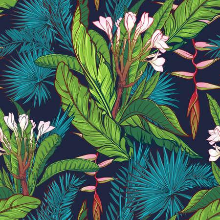 Tropische jungle. Palm en bananenbladeren, frangipani en Heliconia bloemen op een donkerblauwe achtergrond. Naadloos patroon met onregelmatige verdeling van de elementen. EPS10 vector illustratie.