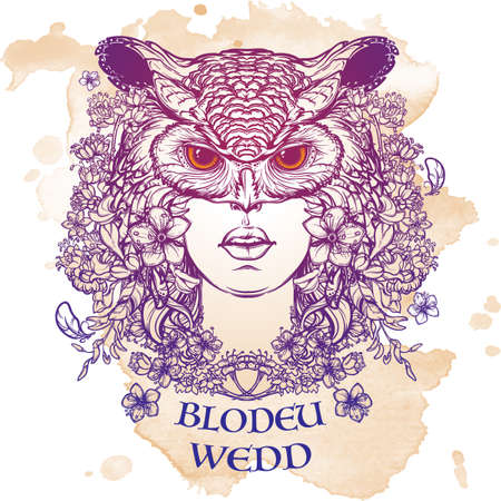 mythological character: Mythological character woman created from flowers and turned into an owl. Illustration to Welsh Mabinogion. Beautiful woman in an owl mask. Mystical halloween concept art. EPS10 vector illustration. Illustration