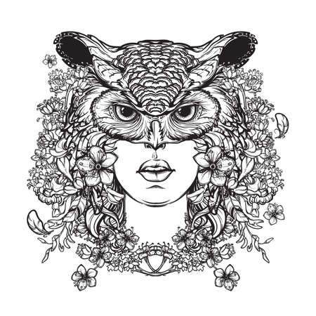 mythological character: Mythological character woman created from flowers and turned into an owl. Illustration to Welsh Mabinogion. Beautiful woman in an owl mask. Mystical halloween concept art. vector illustration.
