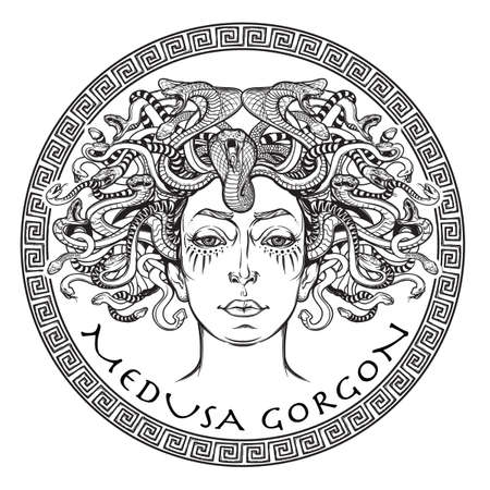 legendary: Medusa Gorgon. Ancient Greek mythological creature with face of a woman and snake hair. Folklore, legendary beast. Halloween concept. Hand drawn sketch artwork. Isolated vector illustration.