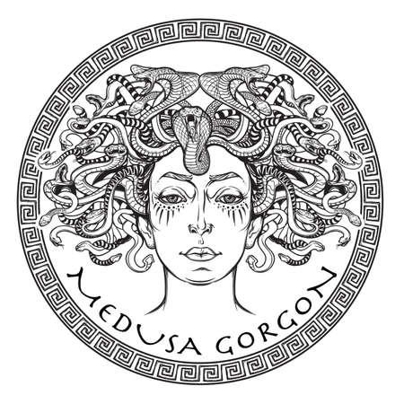 Medusa Gorgon. Ancient créature mythologique grecque avec le visage d'une femme et le serpent cheveux. Folklore, bête légendaire. concept de Halloween. Hand drawn illustration croquis. Isolated illustration vectorielle.