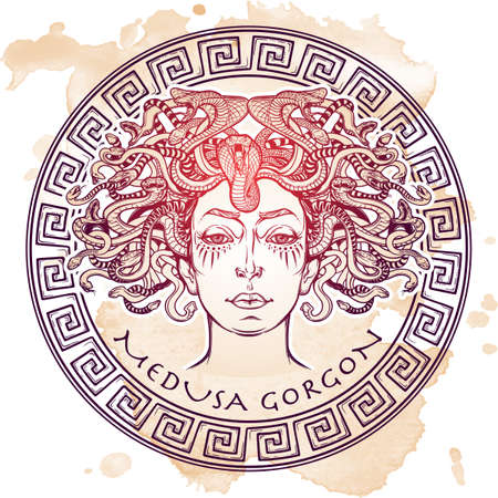 Medusa Gorgon. Ancient Greek mythological creature with face of a woman and snake hair. Legendary beast. Halloween concept. Hand drawn sketch on grunge background. Isolated vector illustration.