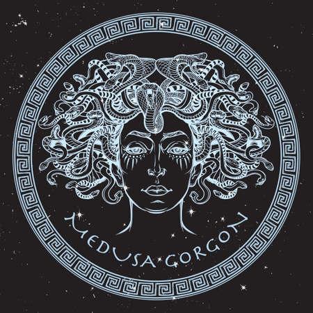Medusa Gorgon. Ancient Greek mythological creature with face of a woman and snake hair. Legendary beast. Halloween concept. Hand drawn sketch artwork on a nightsky BG. vector illustration.