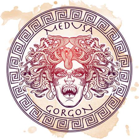 Gorgone Medusa. Antica creatura mitologica greca con la faccia di un capello donna e serpente. bestia leggendaria. Concetto di Halloween. Schizzo disegnato a mano su sfondo grunge. illustrazione vettoriale isolato.