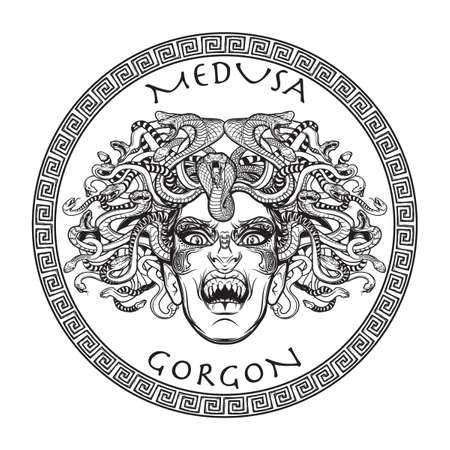 Medusa Gorgon. Ancient Greek mythological creature with face of a woman and snake hair. Folklore, legendary beast. Halloween concept. Hand drawn sketch artwork. Isolated vector illustration.