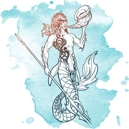 triton: Merman or triton mythological ocean creature armed with trident and horn. Hand drawn artwork Isolated on white background. Neptune or Poseidon God of freshwater and the sea. vector illustration.