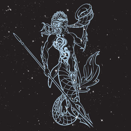 Merman or triton mythological ocean creature armed with trident. Hand drawn artwork Isolated on nightsky background. Neptune or Poseidon God of freshwater and the sea.  vector illustration. Illustration