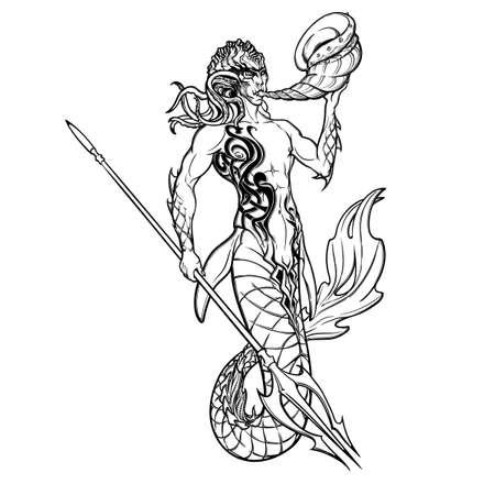 マーマンやトリトンの神話の海の生き物は、トライデントとホーンで武装。手描きの白い背景のアートワーク分離されました。ネプチューンやポセ