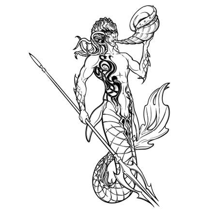 Merman or triton mythological ocean creature armed with trident and horn. Hand drawn artwork Isolated on white background. Neptune or Poseidon God of freshwater and the sea. vector illustration.