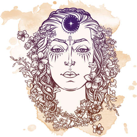 pagan: White Goddess. Universal deiety in most of the pagan religions worldwide. Symbol of the female element in nature. Hand drawn artwork. Grunge background.  Isolated vector illustration. Illustration