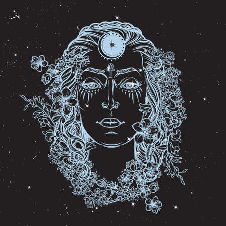 pagan: White Goddess. Universal deiety in most of the pagan religions worldwide. Hand drawn artwork on a textured nigntsky background with stars. Religion, spirituality. Isolated vector illustration.