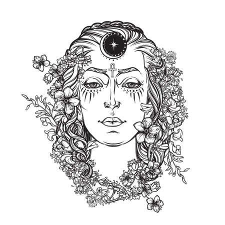 Weiße Göttin. Universal-deiety in den meisten der heidnischen Religionen weltweit. Symbol des weiblichen Elements in der Natur. Hand gezeichnete Grafik. Religion, Spiritualität, Wicca. Isolierte Vektor-Illustration. Vektorgrafik