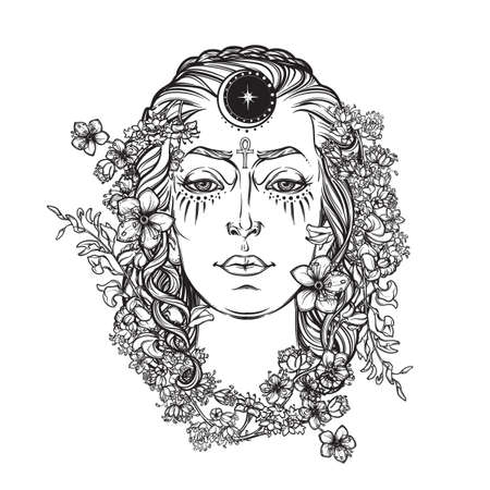 black woman face: White Goddess. Universal deiety in most of the pagan religions worldwide. Symbol of the female element in nature. Hand drawn artwork. Religion, spirituality, wicca. Isolated vector illustration. Illustration
