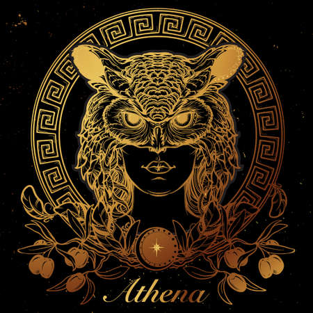 myths: Athena goddess of ancient greek myths. Beautiful woman in an owl mask. Gold on Black. Circular Meander ornament and Olive branch. Mystic halloween concept art. Illustration