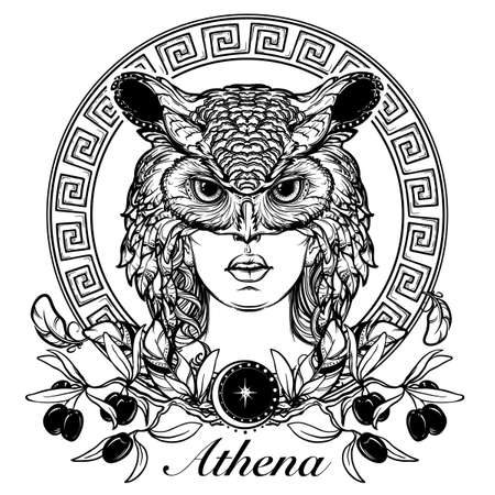Athena goddess of ancient greek myths. Beautiful woman in an owl mask. Owl as a symbol of Athena. Circular Meander ornament and Olive branch. Mystic halloween concept art. EPS10 vector illustration.