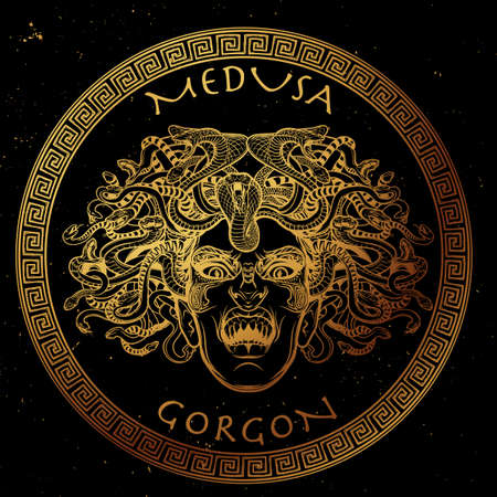 legendary: Medusa Gorgon. Ancient Greek mythological creature with face of a woman and snake hair. Folklore, legendary beast. Halloween concept. Hand drawn sketch artwork.